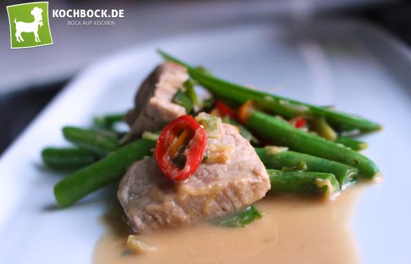Rezept Schweinefleisch Bohnen Erdnuss Sauce - Kochbock.de