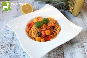 Rezept Pasta mit Garnelen & Ananas von KochBock.de
