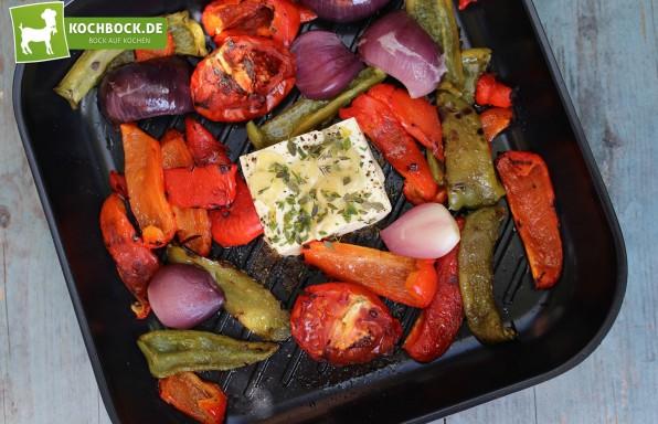 Rezept für gegrilltes Gemüse & Schafskäse von KochBock.de