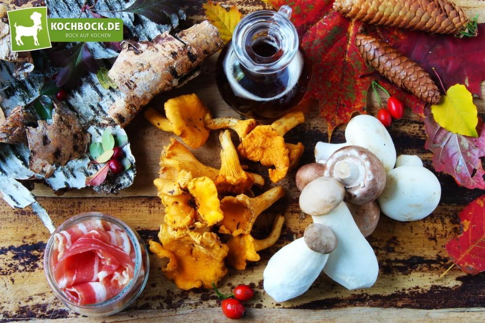 Zutaten für Schweinefilet mit Pilzen & Bacon von KochBock.de