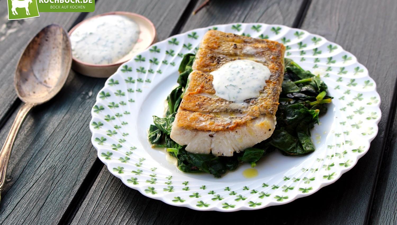 Rezept für Zanderfilet mit Spinat von KochBock.de