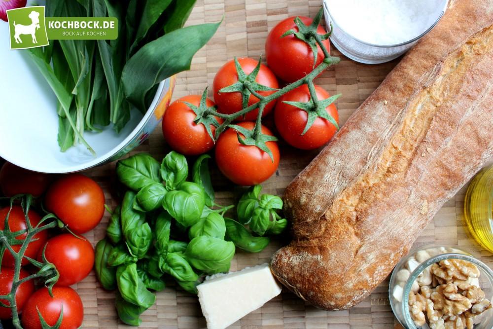 Tomaten Bruschetta Bärlauchpesto Zutaten