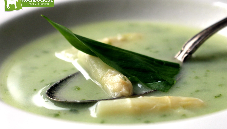 Rezept für Spargelcreme-Suppe mit Bärlauch von KochBock.de