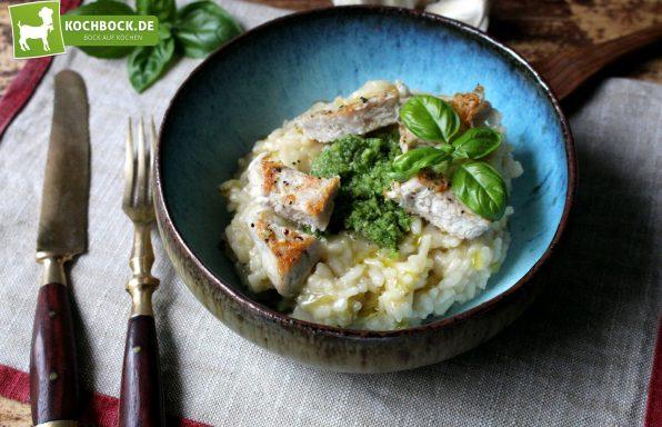 Rezept für Risotto Bianco mit Putenstreifen & Pesto von KochBock.de