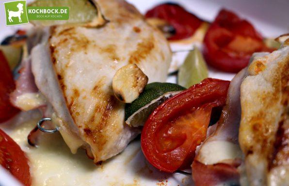 Rezept für Hähnchenbrust gefüllt mit Schinken und Käse von KochBock.de